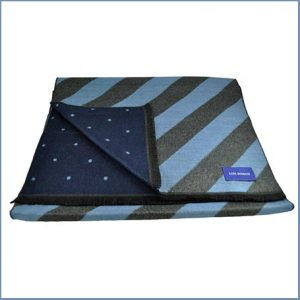 Buy him the Lupi Romani Light Blue & Grey Striped & Navy & Light Blue Polka Dot Patterned Double Face Scarf for this anniversary gift