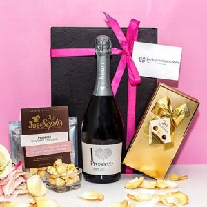 Buy her The Prosecco Lovers Hamper with some luxury Joe and Sephs Prosecco flavour popcorn and a box of beautiful Belgian Chocolates for this anniversary gift
