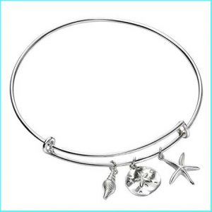 Buy her this Sterling Silver Sea Life Charm Bangle for this anniversary gift