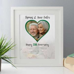 Buy them this Personalised Emerald Wedding Anniversary Framed Photo Print for a 55th anniversary gift