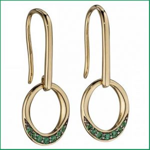 Buy her these Elements Gold Yellow Gold Emerald Pave Oval Donut Earrings for this anniversary gift