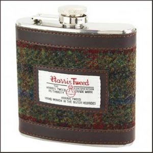 Buy him The Brenais Collection Green & Red Harris Tweed 6oz Hip Flask for this anniversary gift