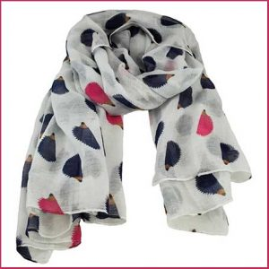 Buy her the Hedgehog Animal Print White Lightweight Women's Shawl Scarf for this anniversary gift