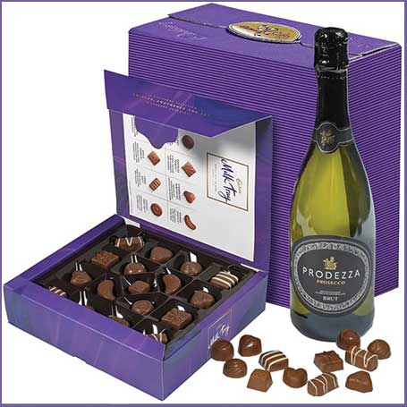 Buy her Cadbury Milk Tray and Prosecco hamper for this anniversary gift