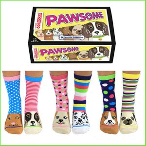 Buy her these United Oddsocks Women's Pawsome Socks Gift Box for this anniversary gift well made funky & fun looking, dare to be different.