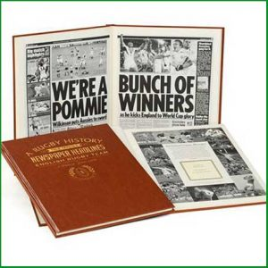 Buy him the History of English Rugby Personalised with a name and a message appearing on the title page for this anniversary gift.