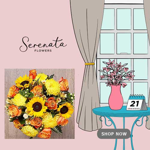Buy her or the couple a beautiful bouquet from Serenata Flowers on any occasion