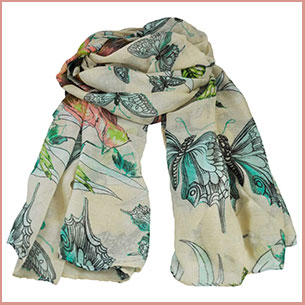 Buy her the  Butterfly & Birds Animal Print Blush Lightweight Women's Shawl Scarf for this anniversary gift