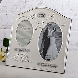 Buy her or the celebrating couple this 60th anniversary photo frame for this anniversary gift