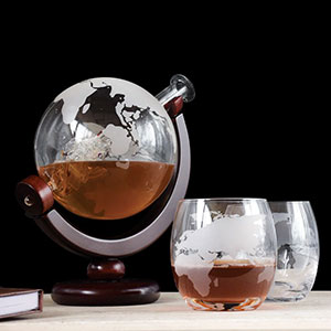 Buy him or the celebrating couple the Globe Decanter and glaases set for this anniversary gift
