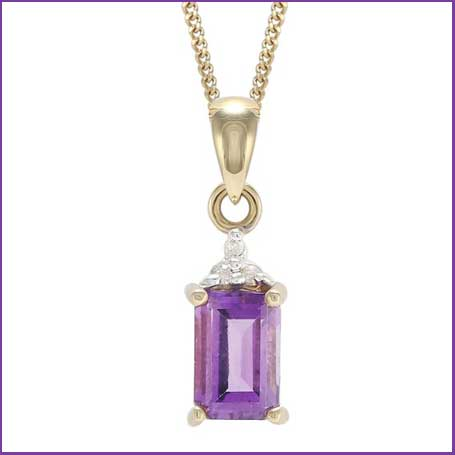 Buy her this gold amethyst diamond crown pendant for this anniversary gift