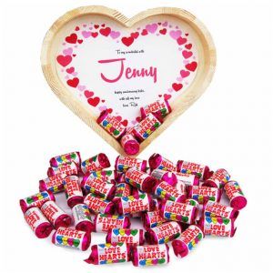 Buy her this Personalised love hearts for her 16th anniversary gift.