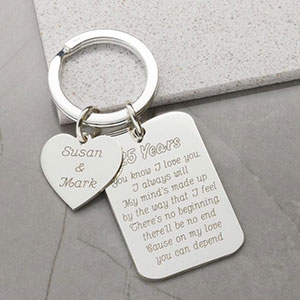Buy her this Sterling Silver Personalised Heart and Tag Anniversary Keyring for this anniversary gift