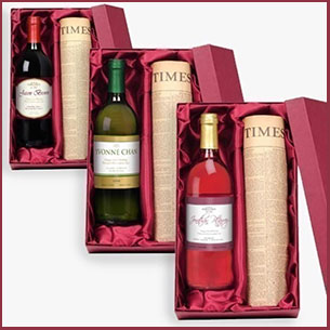 Buy him this wine and original newspaper from a special date for this anniversary gift