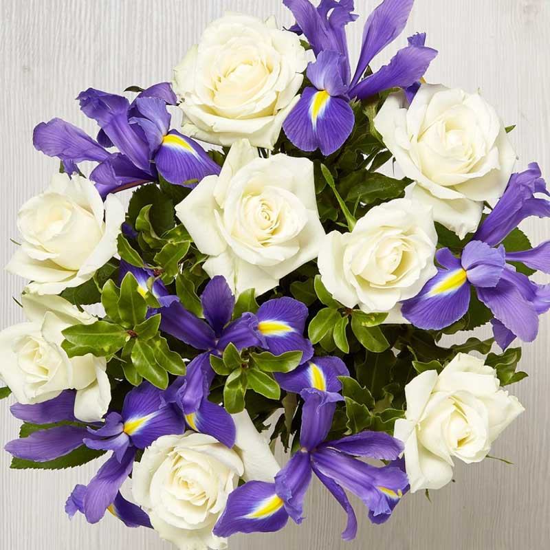 Buy her or the celebrating couple the Starry Night Bouquet with Roses and Iris flowers for this anniversary gift