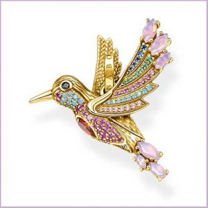 Buy her this Thomas Sabo multi coloured stone bird pendant for this anniversary gift