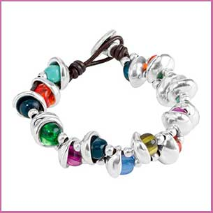 Buy her this stylish ladies bracelet with silver and colored beads for this anniversary gift