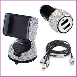 Buy her this car mobile phone bling set for this anniversary gift