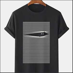Buy him this cat peeking out of the blind quirky T-Shirt for this anniversary gift