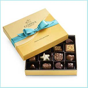 Buy her these Godiva Chocolatier Assorted Chocolates Gift Box for this anniversary gift