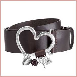 Buy her a stylish lady's leather belt with a heart shaped buckle for this anniversary gift