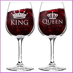 Buy them these King & Queen glass set for this anniversary gift