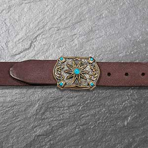 Buy him this Turquoise Brown Leather Belt for an anniversary gift