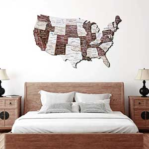 Buy the USA Cappuccino wooden map for this anniversary gift