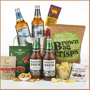 Buy him the Beer and bar Snacks Hamper for this anniversary gift