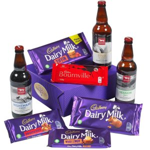 Buy him the Cadburys bars and beer hamper for this anniversary gift.