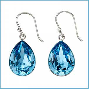 buy her these Aquamarine Swarovski Earrings for this anniversary gift
