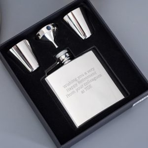 Buy him a personalised engraved hip flask set gift on this anniversary.