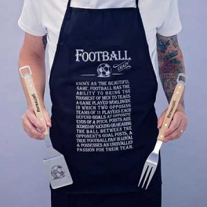 Buy him a football crazy apron and BBQ set for this anniversary gift