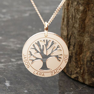 Buy her the gold family tree pendant that can be engraved with up to 5 names or words for this anniversary gift