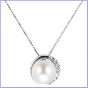 Buy her the 9ct White Gold 6-6.5mm Cultured Fresh Water Pearl & Graduated Diamond Pendant for this anniversary gift