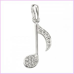 Buy her the Sterling Silver Cubic Zirconia Musical Note Pendant for this anniversary gift