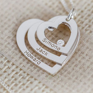 Buy her the Silver Triple Heart Necklace Personalised with up to 4 names (or words) with genuine diamond for this anniversary gift
