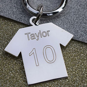 Buy him the Sterling Silver Engraved Football Shirt Keyring for this anniversary gift