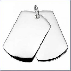 Buy him these engravable silver double dog tags pendant for this anniversary gift