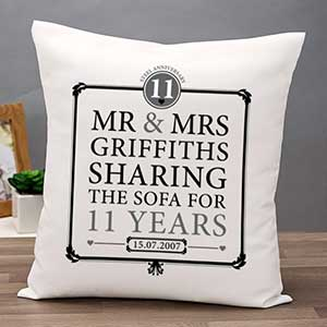 Buy them the Personalised 11th Anniversary Sharing The Sofa Cushion for this anniversary gift