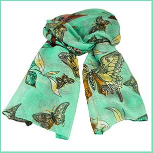 Buy her Butterfly & Birds Animal Print Mint Green Lightweight Women's Shawl Scarf for this anniversary gift