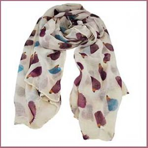 Buy her the Hedgehog Animal Print Ivory White Lightweight Women's Shawl Scarf for this anniversary gift