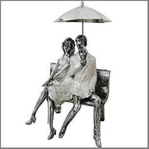 Buy the Man And Woman With Umbrella Sculpture for this anniversary gift