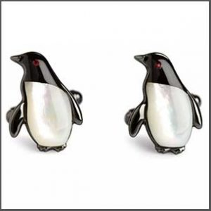 Buy him these Simon Carter Mother Of Pearl & Black Onyx Penguin Cufflinks for the 30th anniversary gift