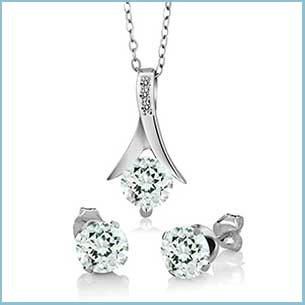 Buy her the Silver Sky Blue Aquamarine and White Diamond Pendant Earrings Gift Set for this anniversary gift