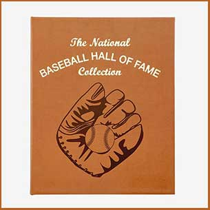Buy him this leather bound Baseball Hall of Fame book for this anniversary gift