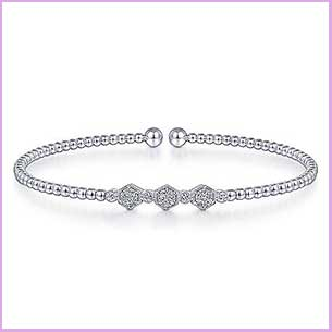 Buy her the White Gold Bujukan Bead Cuff Bracelet with Cluster Diamond for this anniversary gift