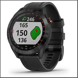 """Buy him this Stylish, Garmin S40 lightweight GPS golf watch with a sunlight-readable 1.2"""" color touchscreen display with metal bezel and quick release bands for easy change of style or color for this anniversary gift"""