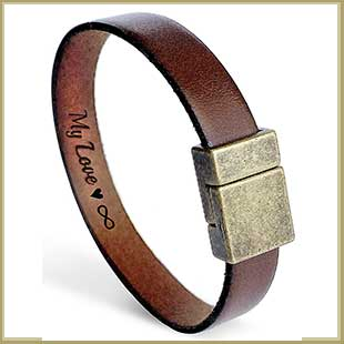 Buy the Personalized Secret Message Leather Bracelet for him and a Bronze Anniversary Gift for Husband