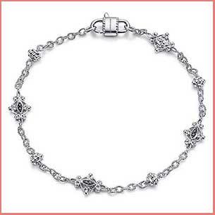 Buy her the Silver Filigree Station Bracelet with Black Spinel